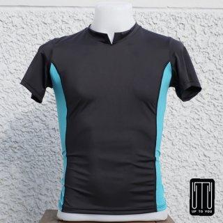 เสื้อกีฬาสุภาพบุรุษ สีดำ-ฟ้า