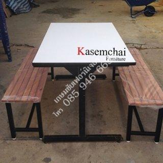 โต๊ะโรงอาหาร เก้าอี้ไม้ระแนงยาว 2 ตัว