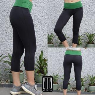กางเกงโยคะ สีดำ-เขียว