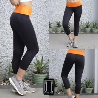 กางเกงโยคะ สีดำ-ส้ม
