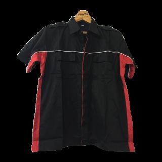 เสื้อช็อปดำคาดแดง