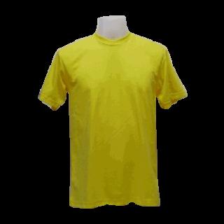 แบบเสื้อยืดคอกลมเหลืองสกรีนด้านหลัง