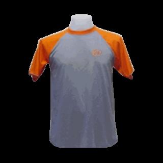 แบบเสื้อยีดคอกลมเทาแขนส้ม