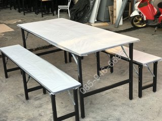 โต๊ะโรงอาหารแบบขาพับได้ เหล็ก 1/4x1 นิ้ว 1/4นิ้ว