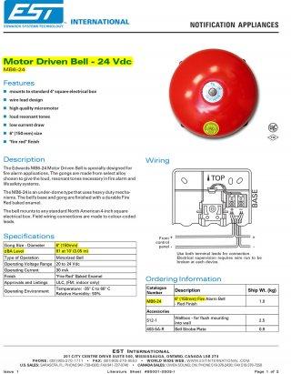 อุปกรณ์แจ้งเตือนเหตุเพลิงไหม้ รุ่น MB6-24