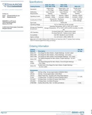 สัญญาณเตือนภัยดึงมือ รุ่น SIGA-270, SIGA-270P, SIGA-278