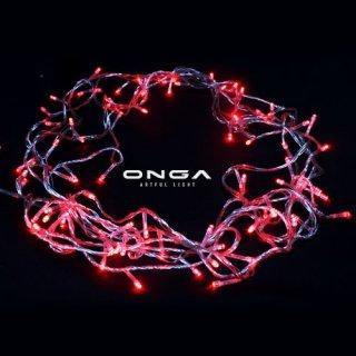 ไฟหยดน้ำ LED: แสง Red, 100 led, ยาว 8 เมตร, ปรับได้ 8 จังหวะ, ไฟประดับตกแต่ง