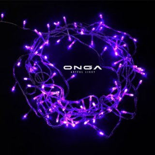 ไฟหยดน้ำ LED: แสง Purple, 100 led, ยาว 8 เมตร, ปรับได้ 8 จังหวะ, ไฟประดับตกแต่ง