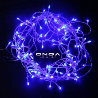 ไฟหยดน้ำ LED: แสง Blue, 100 led, ยาว 8 เมตร, ปรับได้ 8 จังหวะ, ไฟประดับตกแต่ง