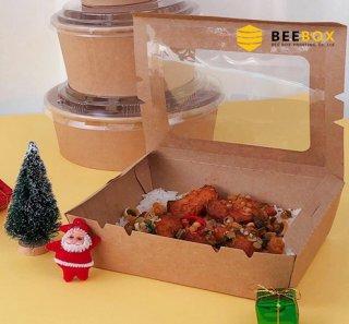 กล่องอาหารกระดาษคราฟท์ รหัส JH-K-1600B-W