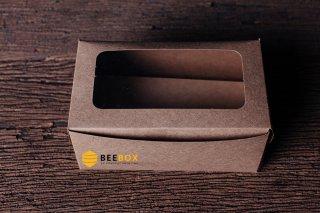 กล่องคัพเค้ก 2 ชิ้น สี่เหลี่ยมพร้อมฐาน