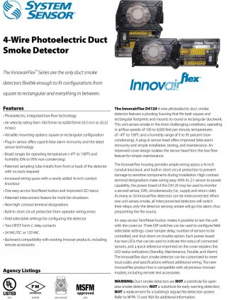 4-Wire Photoelectric Duct Smoke Detector