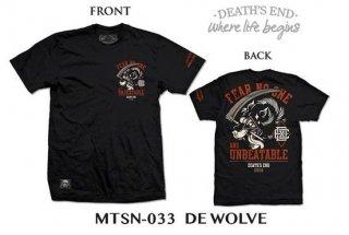 [S] เสื้อยืดคอกลมสีดำ รหัส MTSN-033 DE WOLVE