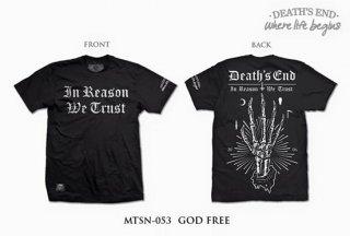 [M] เสื้อยืดคอกลมสีดำ รหัส MTSN-053 GOD FREE