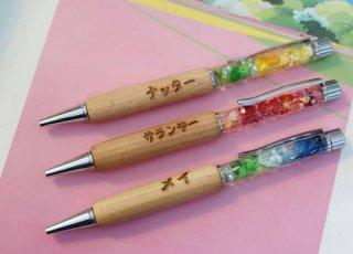 ปากกาด้ามไม้ตกแต่งดอกไม้แห้งในน้ำมัน HB-WP01