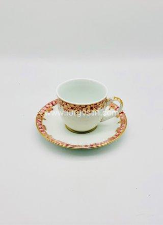 แก้วกาแฟ ลายขอบทองแดง