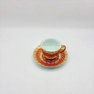 แก้วกาแฟ ลายเต็มใบเบญจรงค์ สีแดง