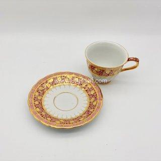 แก้วกาแฟ ลายครึ่งใบเบญจรงค์ สีชมพู