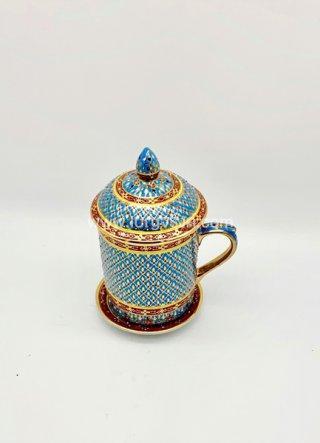 แก้วมัคเบญจรงค์ สีฟ้า