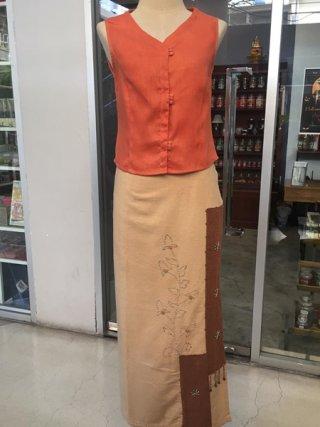 เสื้อแขนกุดคอวี สีส้ม