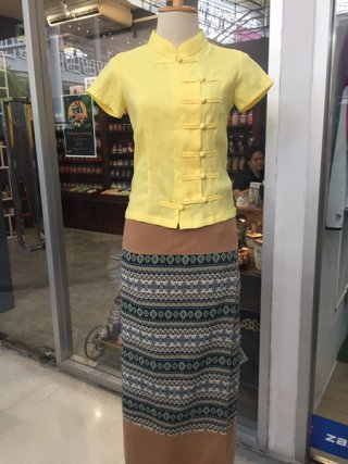 เสื้อกี่เพ้า สีเหลืองอ่อน