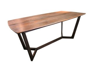 โต๊ะไม้สี่เหลี่ยมผืนผ้าขอบมน