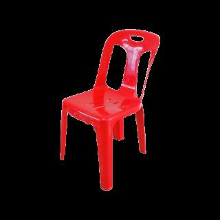 เก้าอี้พลาสติก มีพนักพิง เกรด A สีแดง #182AR