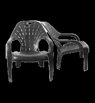 เก้าอี้พลาสติก มีพนักพิง ชมจันทร์ สีดำ #181B