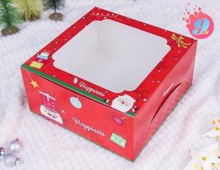 กล่องเค้ก 1 ปอนด์ ลายคริสมาสต์ เรด