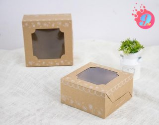 กล่องเค้กครึ่งปอนด์คราฟ ลายวินเทจฟลอร่า