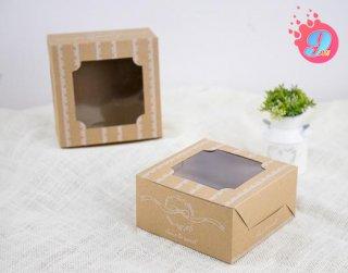 กล่องเค้กครึ่งปอนด์คราฟ ลายวินเทจริบบิ้น
