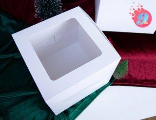 กล่องเค้ก 1 ปอนด์ขาว ทรงสูง 20 ซม.