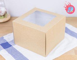 กล่องเค้ก 1 ปอนด์คราฟหลังขาว (ทรงสูง)