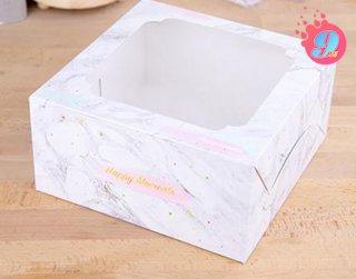 กล่องเค้ก 1 ปอนด์ ลายหินอ่อน (10 ใบ)