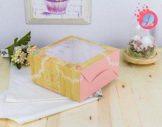 กล่องเค้ก 1 ปอนด์ ลายไม้ (10 ใบ)