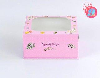 กล่องเค้ก 1 ปอนด์ ลายวินเทอร์ โรส