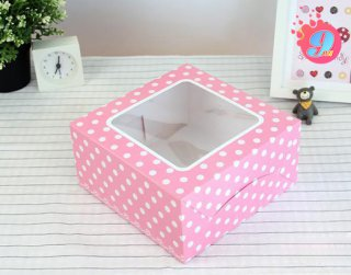 กล่องเค้ก 1 ปอนด์ ชมพูเข้มจุด