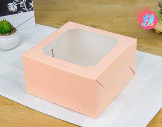 กล่องเค้ก 1 ปอนด์ หน้าต่างกว้าง สีชมพูจุด