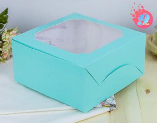 กล่องเค้ก 1 ปอนด์ หน้าต่างกว้าง สีมิ้นต์จุด