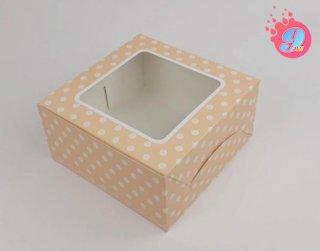กล่องเค้ก 1 ปอนด์ สีครีมพิมพ์ลายจุดขาว