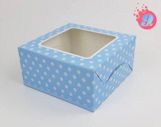 กล่องเค้ก 1 ปอนด์ สีฟ้าพิมพ์ลายจุดขาว