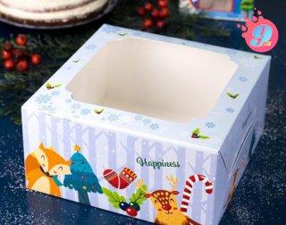 กล่องเค้ก 1 ปอนด์ พิมพ์ลายคริสมาสต์ บลู