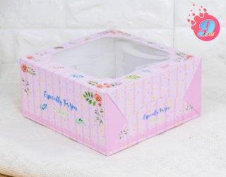 กล่องเค้ก 1 ปอนด์ พิมพ์ลายบลอสซั่ม ชมพู (10 ใบ)