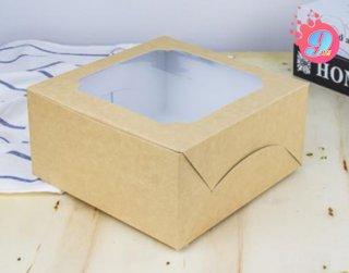 กล่องเค้ก 1 ปอนด์ กระดาษคราฟหลังขาว