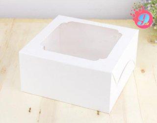 กล่องเค้ก 1 ปอนด์ สีขาวหน้าต่างกว้าง