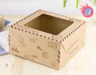 กล่องเค้ก 1 ปอนด์ กระดาษคราฟ ทราเวิล