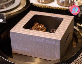 กล่องเค้ก 1 ปอนด์ กระดาษคราฟ ไอเลิฟเค้ก