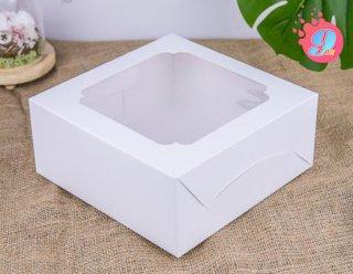 กล่องเค้ก 2 ปอนด์ สีขาว หน้าต่างกว้าง