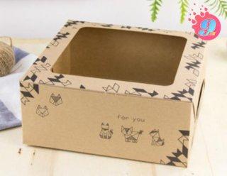 กล่องเค้ก 2 ปอนด์ กระดาษคราฟ โอริกามิ