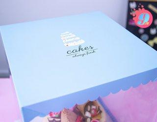 กล่องเค้กพลาสติก 2 ปอนด์ ทรงสูง สีฟ้า